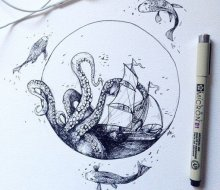 插画师Alfred Basha的幻想主义色彩的针管笔画作欣